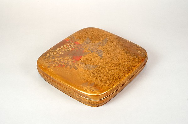 Writing Box with Design of Flowering Bush Clover and Sun, Gold, silver togidashimaki-e, hiramaki-e, takamaki-e, cut-out gold foil application, Japan