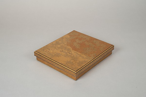 Writing Box (Suzuribako) with Episodes from the Tales of Ise (Ise monogatari), Nakayama Komin (Japanese, 1808–1870), Gold maki-e with inlaid silver on lacquer, Japan