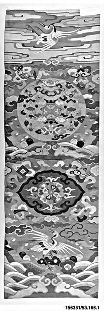 Chair Strip with Cranes and Lantern, Silk and metallic-thread tapestry (kesi), China