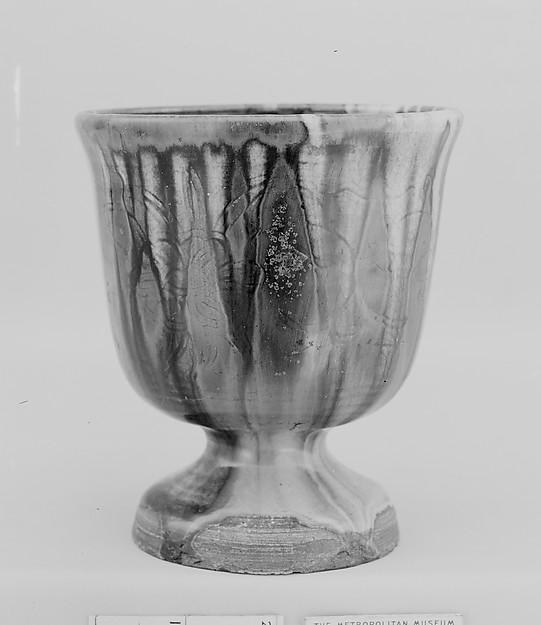 Cup on a Foot, Shuntai (Japanese, 1799–1878), Clay covered with a transparent crackled glaze with streaks (Mino ware, Ofuke type), Japan