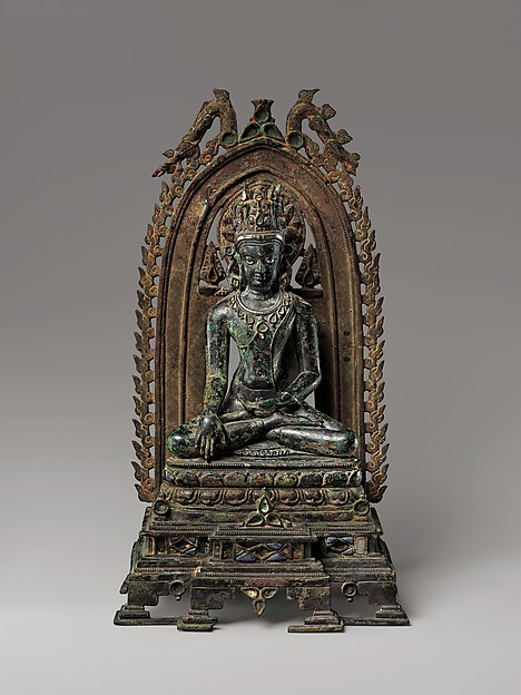 Crowned Buddha, Bronze inlaid with silver, lapis lazuli, and rock crystal, India (Bihar)