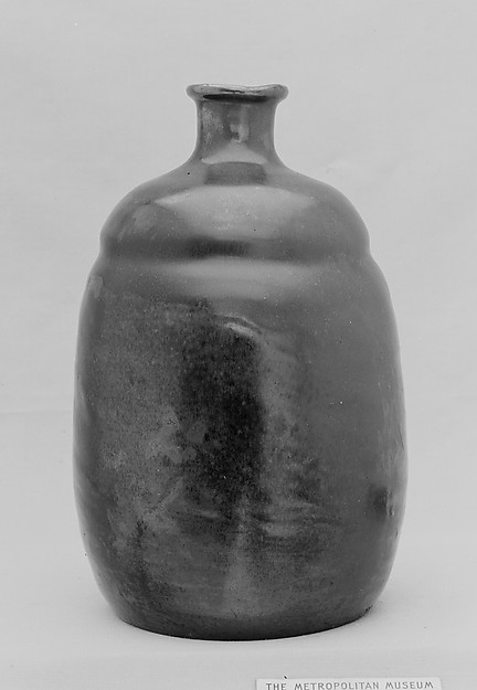 Bottle, Clay covered with a mottled glaze and an overglaze (Takatori ware, Satsuma type), Japan