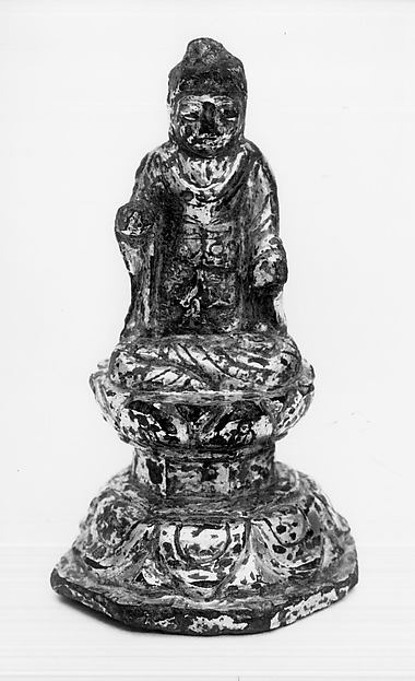 Statuette of Buddha Sitting on Engraved Throne, Gilt bronze, Korea