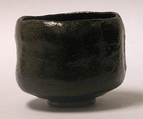 Teabowl, Raku Ryōnyū (Japanese, 1756–1834), Clay covered with a black glaze (Raku ware), Japan