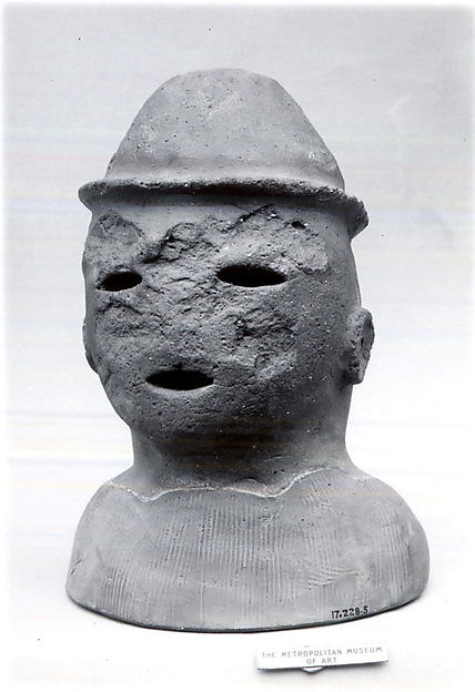 Head of a Male Haniwa Figure with Headdress, Earthenware, Japan