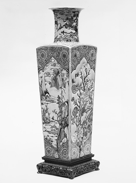 Vase, Porcelain painted in famille verte enamels on the biscuit, China