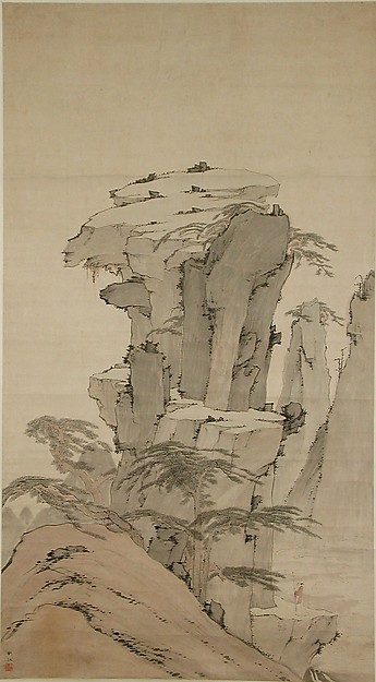 Scholar Contemplating Towering Rock, Unidentified Artist, Hanging scroll; ink and color on paper, China
