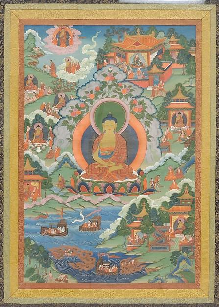 Thanka with Buddha, Distemper on cloth, Tibet