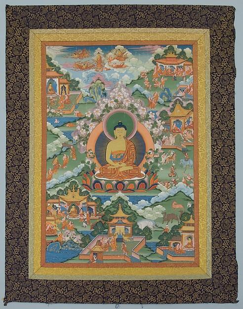 Tangka with Buddha, Distemper on cloth, Tibet