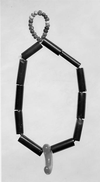 Beads, Serpentine stone, amber, and soda glass, Japan