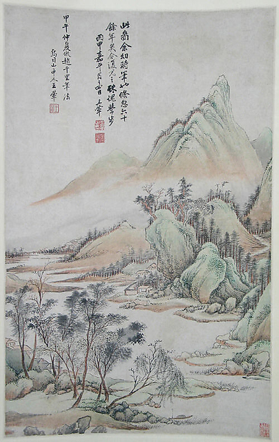 Landscape in the Style of Zhao Boju (Fang Zhao Boju shanshui), After Wang Hui (Chinese, 1632–1717), Hanging scroll; ink and color on paper, China