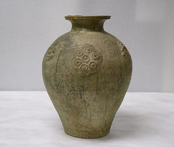 Jar, Earthenware with applied relief decoration under green glaze, China