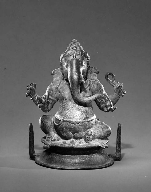 Seated Four-Armed Ganesha, Copper alloy, India (Tamil Nadu)