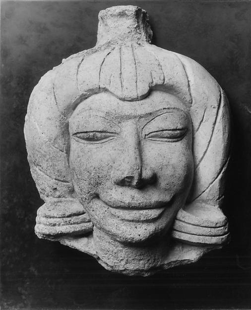Head of a Male Figure, Stucco with color, Thailand (Ratchaburi Province, Ku Bua)