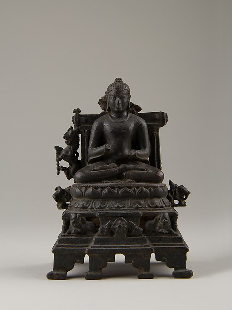 Enthroned Preaching Buddha, Bronze with silver inlay, India (Bihar)