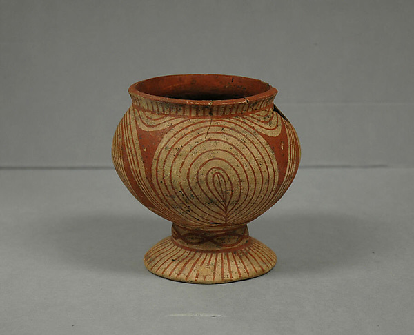Vessel with Flaring Foot, Earthenware with buff slip and red oxide decoration, Thailand (Ban Chiang)