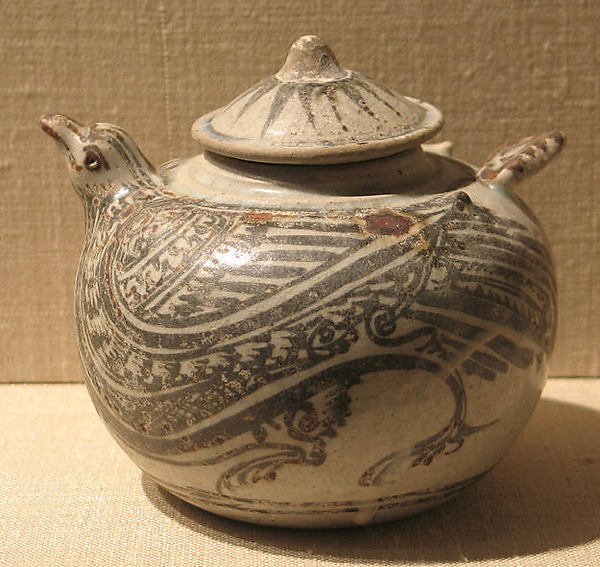 Covered Jar in the Form of a Bird, Earthenware with cream white glaze and iron-brown underglaze decoration, Thailand (Si Satchanalai)