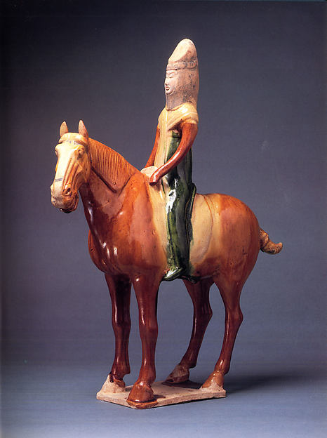 Horse and Female Rider, Earthenware with three-color (sancai) glaze and pigment, China