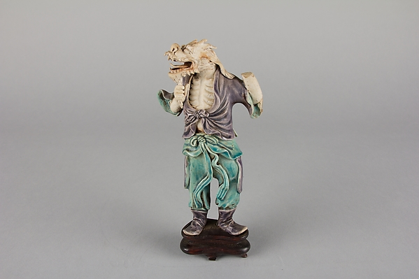 Zodiac Figure: Dragon, Porcelain, in the biscuit and with turquoise and aubergine glazes, China