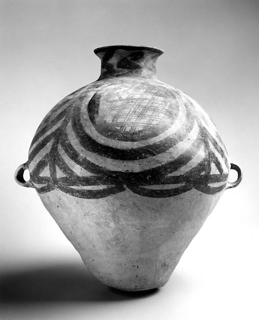 Ovoid Jar (Hu), Earthenware with pigments, China