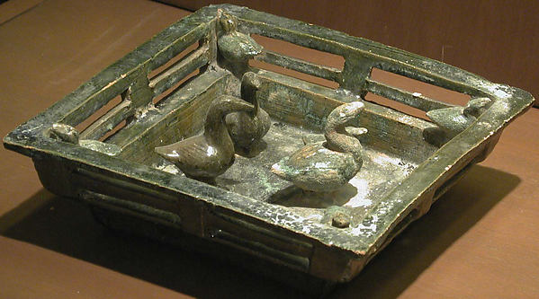 Square Duck Pond, Earthenware with green lead glaze, China