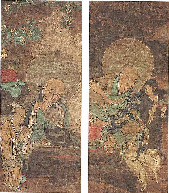 Rakan, Two hanging scrolls, from a set of sixteen; ink and color on silk, Japan
