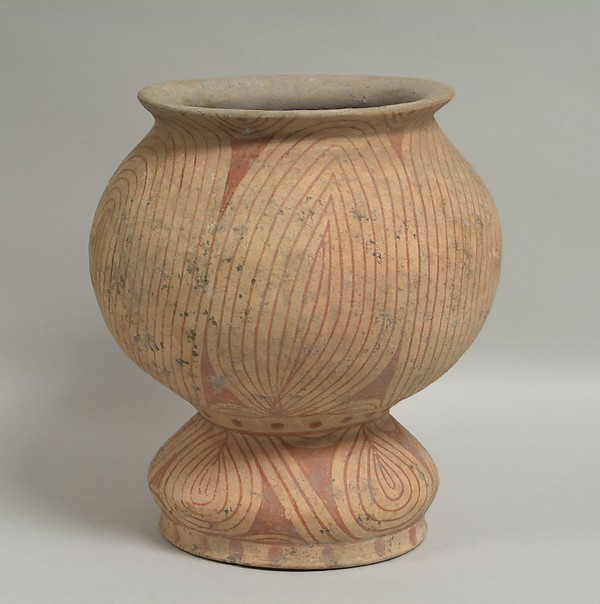 Pedestalled Vessel, Earthenware with buff slip and red oxide decoration, Thailand
