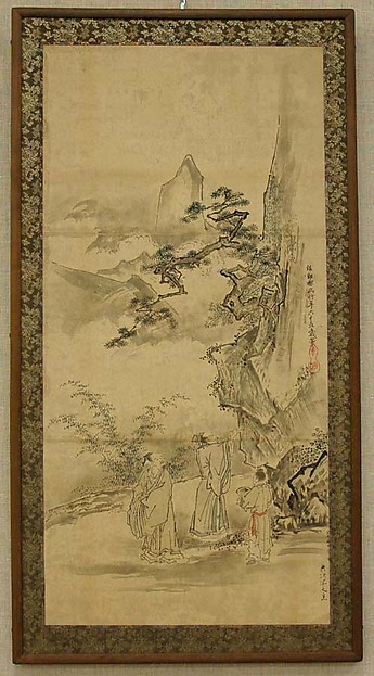 Sketch for a Painting of Mi Fu Inscribing a Poem on a Rock, Kano artist After Kano Tan'yū (Japanese, 1602–1674), Hanging scroll mounted as a panel; ink and color on paper, Japan