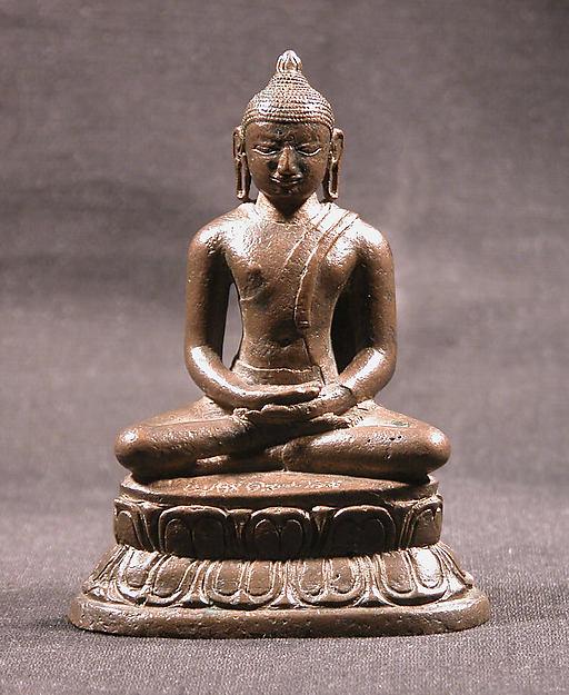 Seated Buddha, Copper alloy, India (Tamil Nadu, Nagapattinam)