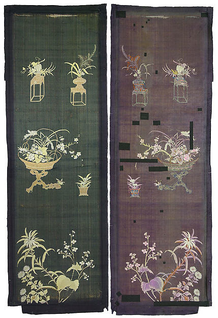 Embroidered Panel (from set of four), Silk, metallic thread, China