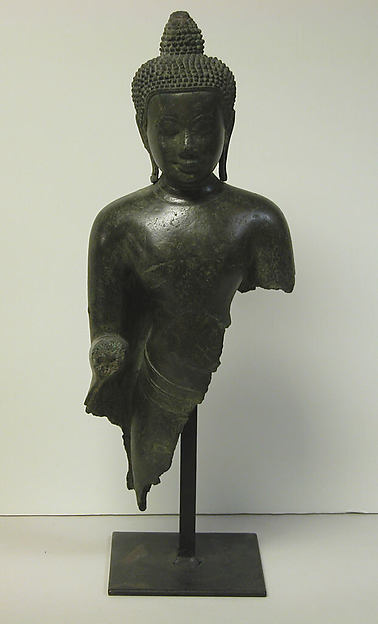 Bust of a Buddha, Bronze, Cambodia or Thailand