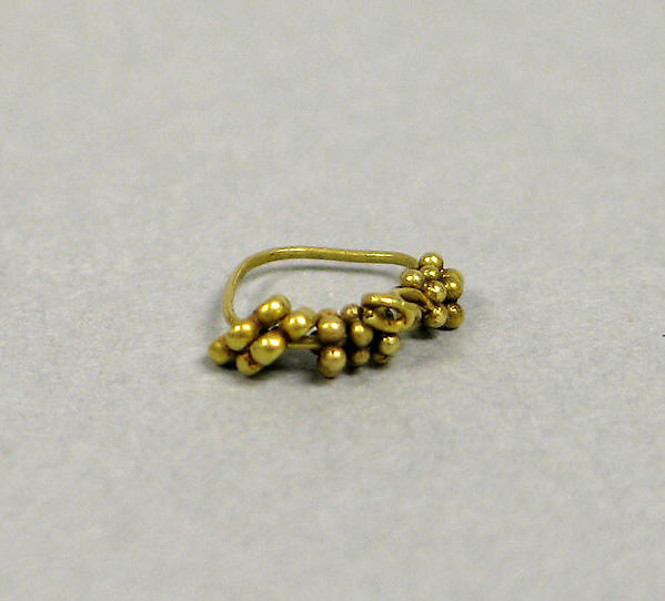 Pair of Ear Clips with Granulate Clusters on Hoops, Gold, Indonesia (Java)