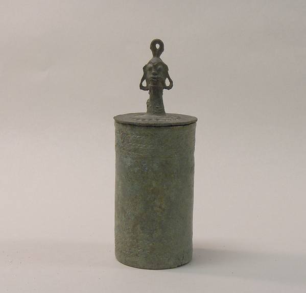 Lid of a Lime Container with Head, Bronze, Indonesia (Java, Lumajang, Pasiran)