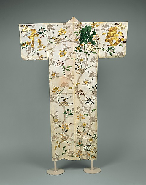 Robe (Kosode) with Mandarin Orange Tree and Auspicious Characters, Dyed and embroidered silk crepe with couched gold-wrapped threads, Japan