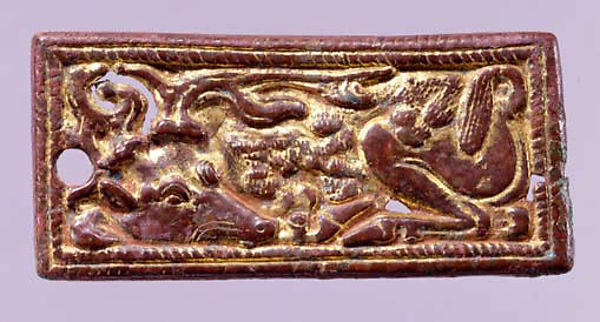 Belt Buckle with Recumbent Stags, Gilded bronze, North China