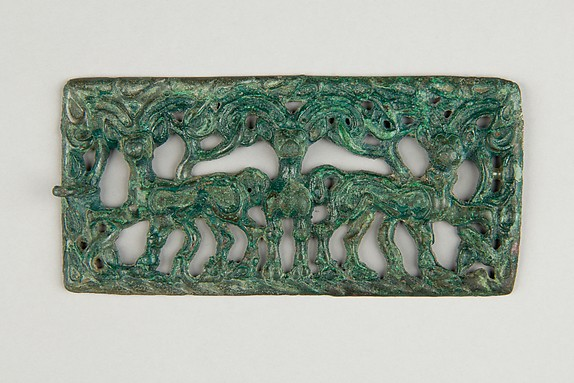 Belt Plaque with Three Ibex, Bronze, Northwest China