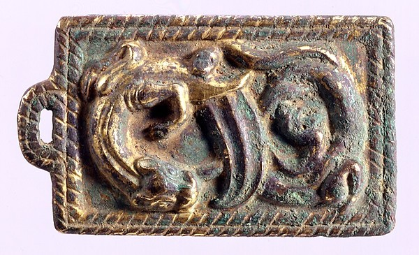 Belt Plaque with Dragon, Gilded bronze, North China