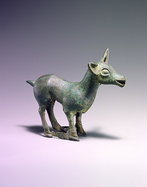 Chariot Yoke Ornament in the Shape of a Doe, Bronze, Northwest China and southwestern Inner Mongolia