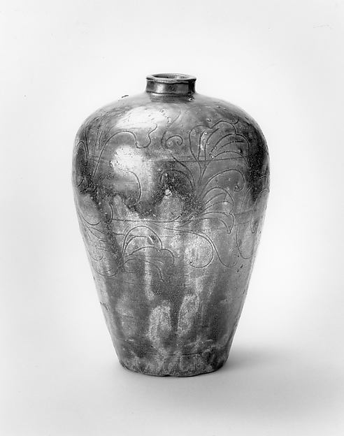 Jar in Meiping Shape with Incised Floral Design, Earthenware with brown iron glaze (Ko Seto ware), Japan