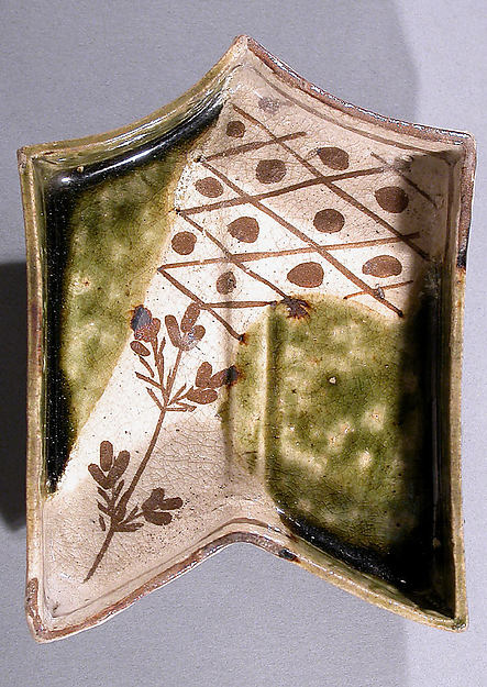 Dish in the Shape of an Arrow's Fletching, Stoneware with underglaze iron brown and copper-green glaze (Mino ware, Oribe type), Japan