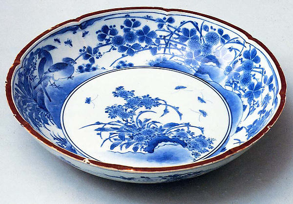 Deep Plate with Eight-Lobed Rim and Decoration of Birds, Flowers and Insects, Porcelain with underglaze blue decoration (Arita ware, Kakiemon type), Japan