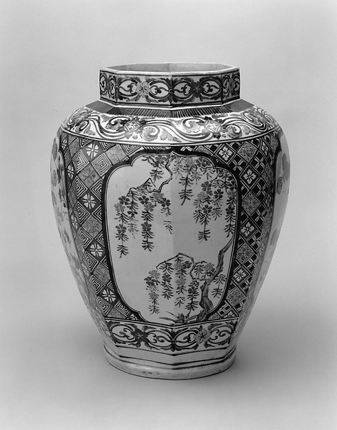 Octagonal Jar with Decoration of Flowering Cherry and Chrysanthemum, Porcelain with overglaze enamels (Arita ware, Kakiemon-related type), Japan