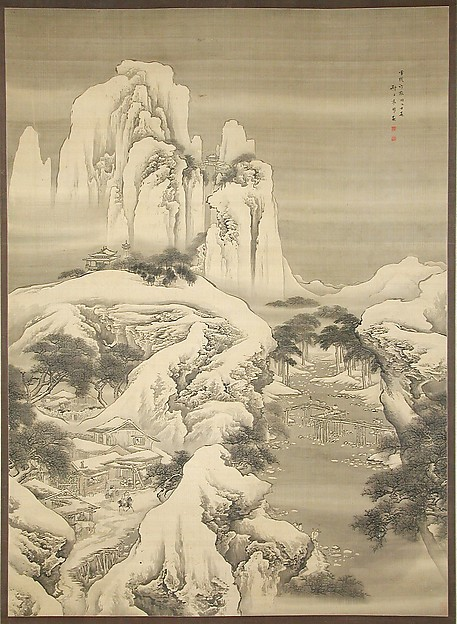 Inn and Travelers in Snowy Mountains, Yuan Yao (Chinese, active 1730–after 1778), Hanging scroll; ink and color on silk, China