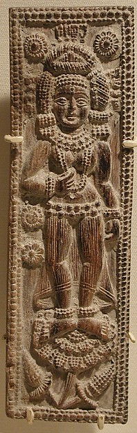 Plaque with the Goddess Durga Standing on a Lotus, Wood, India (West Bengal)