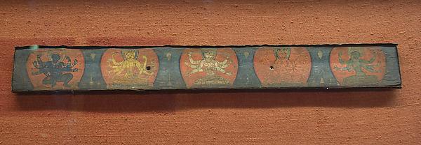 Manuscript Cover with Four Vidyadevis Accompanied by a Protective Deity, Distemper on wood; repoussé gilt-copper cover, Nepal (Kathmandu Valley)