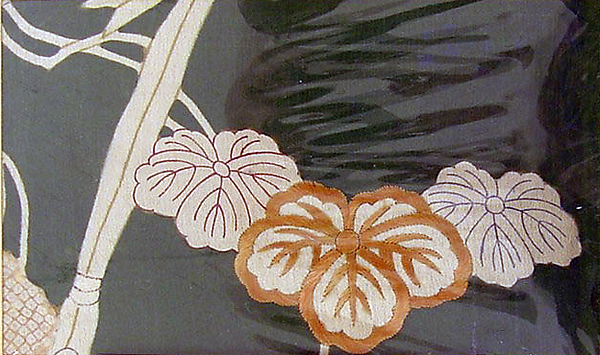 Textile with Leaves and Garden Fence, Resist-dyed and painted plain-weave silk crepe (chirimen), embroidered with silk, Japan