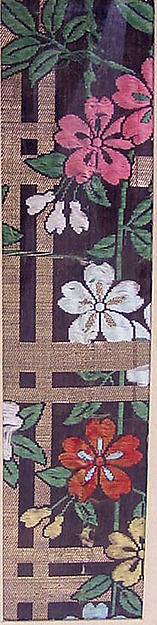 Textile with Blossoming Cherry Branches and Lattice, Silk twill with silk brocading wefts and supplementary-weft patterning in metallic thread, Japan