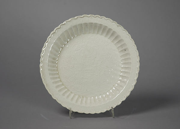 Dish with Garden Scene, Porcelain with impressed design under glaze (Ding ware), China