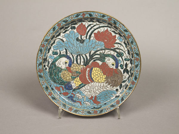 Dish with mandarin ducks and lotuses, Cloisonné enamel, China