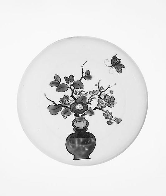 Dish, Porcelain painted with polychrome enamels (Hizen ware, Kutani type), Japan